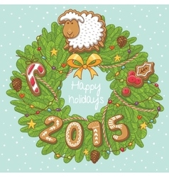 Green christmas wreath with sheep cookies stars vector