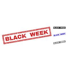 Grunge black week scratched rectangle stamps vector