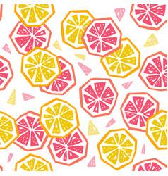 Half lemon and grapefruit seamless pattern vector