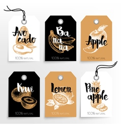 Hand drawn fruits sale tags 100 natural organic vector image