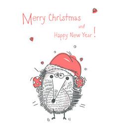 hand drawn funny xmas hedgehog vector image