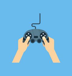 Hands holding gamepad - flat leisure vector