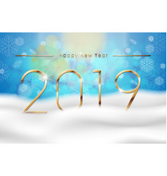 happy new year 2019 with blue winter background vector image