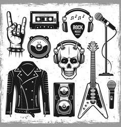 Hard rock and metal music attributes elements vector