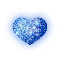 heart blue glitter isoleted on white background vector image