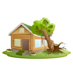 Hurricane tree fell on house Property insurance vector