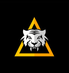 Intimidating tiger front view theme logo template vector
