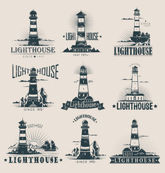 Isolated lighthouse on sea or ocean sketches vector