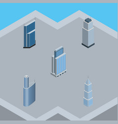 isometric building set of exterior building vector image