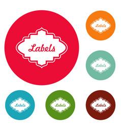 label icons circle set vector image