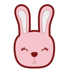 Line color cute rabbit head wild animal vector