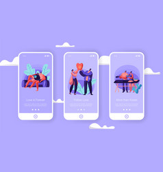 Loving couple at weekend mobile app page vector