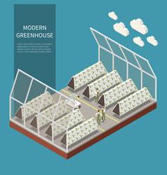 Modern greenhouse complex concept vector