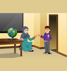Muslim kid and teacher in a classroom vector