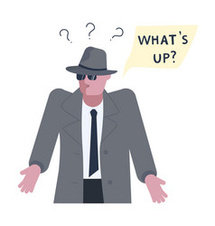mysterious man solves the riddle or problem vector image