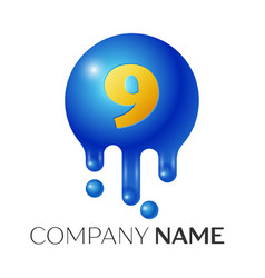 Number nine splash logo blue dots and bubbles vector
