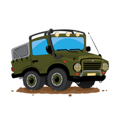 Offroad 4x4 jeep cartoon parked in the mud vector