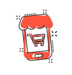 online shopping icon in comic style smartphone vector image
