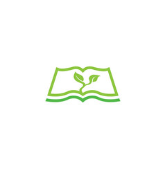 Open book silhouette with green sprigs and leaves vector