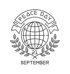 Peace day line logo design vector