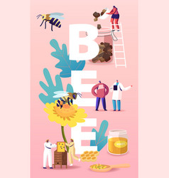 people breed bees extracting honey concept vector image