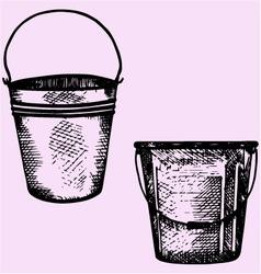 Plastic bucket metal bucket handle vector