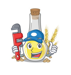 Plumber wheat germ oil at cartoon table vector