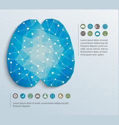 Polygon brain with icons vector