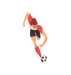 professional soccer player running and kicking vector image