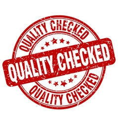 Quality checked red grunge round vintage rubber vector