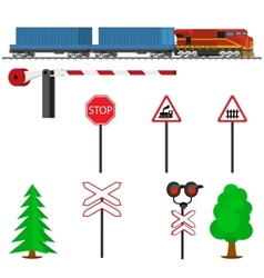 Railroad traffic way and train with containers vector