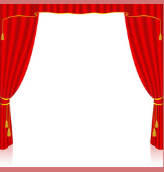 Red curtain on white background vector