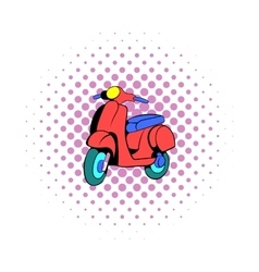 Red scooter icon comics style vector image