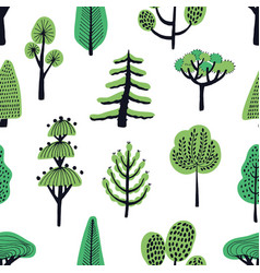 seamless pattern with cartoon doodle trees vector image