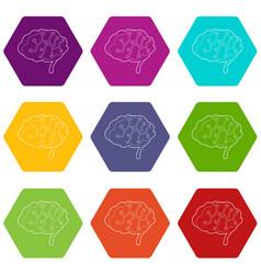 sensors on human brain icons set 9 vector image