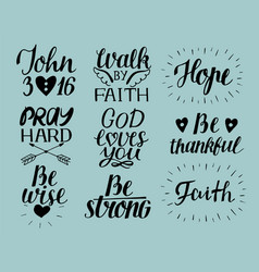 Set 9 hand lettering christian quotes god loves vector