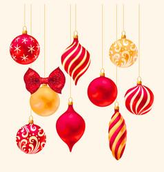 Set christmas balls on white background vector