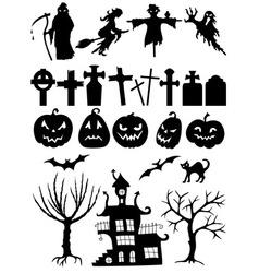 Set halloween silhouettes vector
