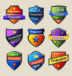 set isolated shields for protectionsafety icon vector image