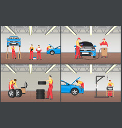 set of automobile workshop vector image