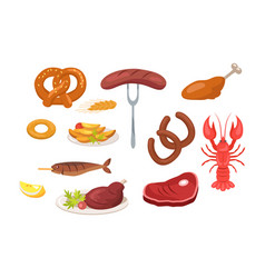 set of food and snack icons vector image