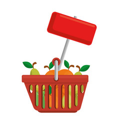 shopping basket with fruits and label vector image