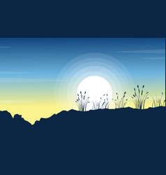 Silhouette of hill with grass at morning scenery vector