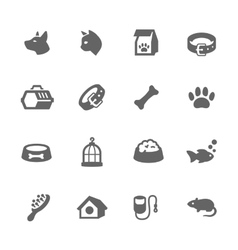 Simple pets icons vector