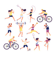 sports people set exercising persons gymnast vector image