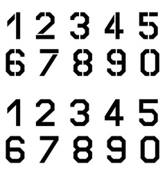 Stencil angular font numbers vector