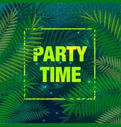 summer party poster with palm leaf and lettering vector image