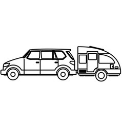 suv sport vehicle with caravan trailer vector image