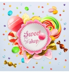Sweet shop candy label vector
