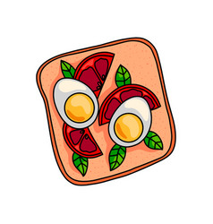 tasty sandwich with half boiled egg and cutted vector image